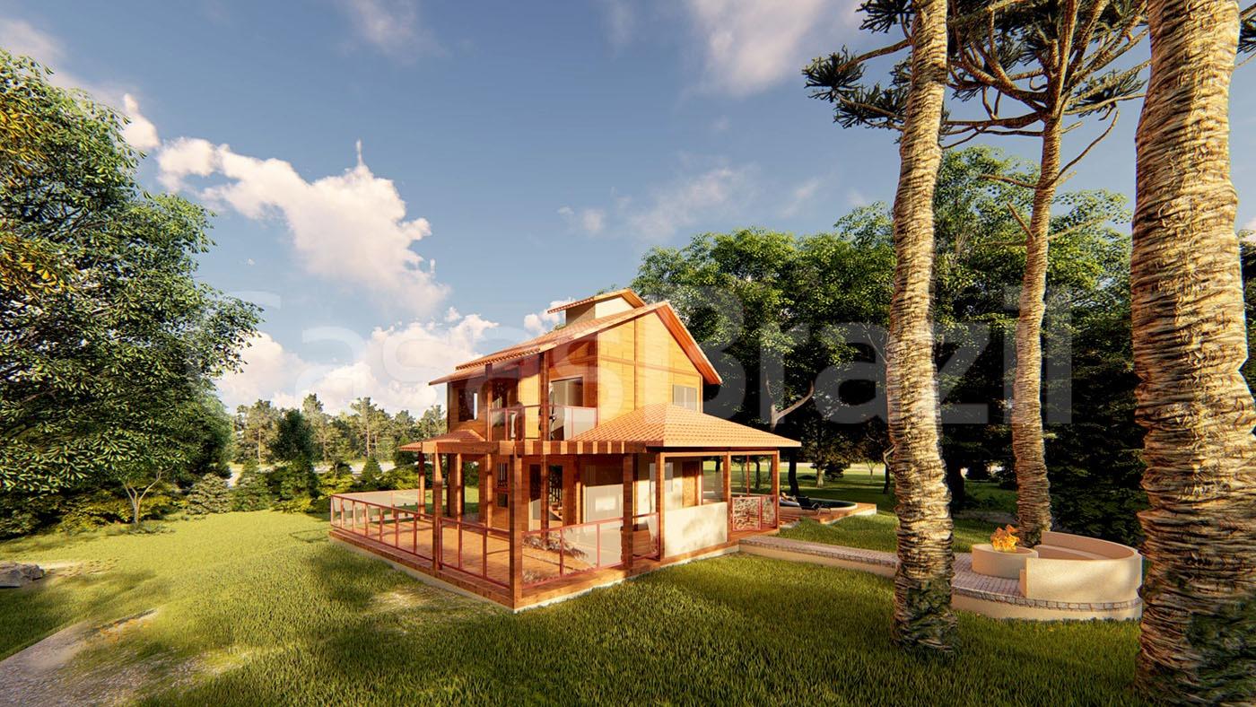 Sobrado de casa pré fabricada projetado para priorizar o conforto e com excelente aproveitamento de espaços.